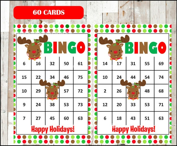 graphic relating to Holiday Bingo Printable identified as 60 Rudolph Xmas Bingo Playing cards - Do-it-yourself Printable Recreation for Xmas Bash, Quick Obtain - Purple Environmentally friendly Polka Dots Vacation Bingo Sport