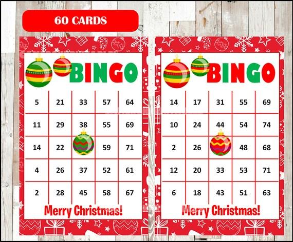Christmas Bingo.Printable 60 Christmas Bingo Cards Printable Christmas Bingo Game Christmas Printable Bingo Cards Instant Download