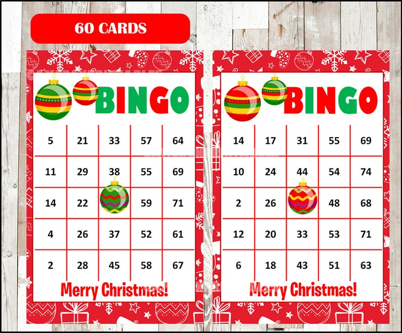 image about Christmas Bingo Card Printable referred to as Printable 60 Xmas Bingo Playing cards; printable Xmas Bingo video game, Xmas printable bingo playing cards immediate obtain