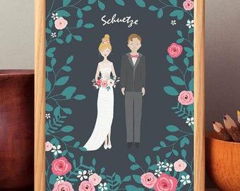 Custom Wedding Portrait - Personalized Wedding Portrait - Couple Portrait - Wedding Gift - Digital Print