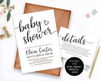Editable Baby Shower Invitation Template Printable Girl Invite DIY PDF Instant Download