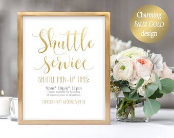 Printable Shuttle Sign Service Wedding Carriages Editable PDF Template Gold