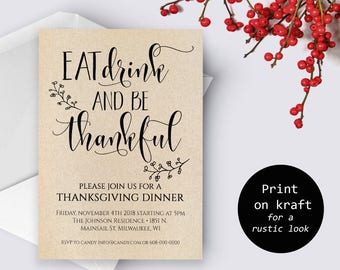 Editable Thanksgiving Invitation Friendsgiving Printable Dinner Invite Party Invites PDF Instant Download