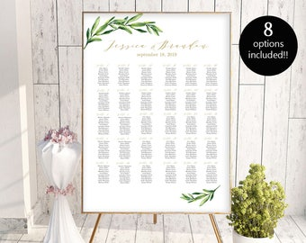 8 Sizes Wedding Seating Chart Template Editable Wedding Table Seating Chart Poster PDF Instant Download Find Your Seat Seating Chart Board