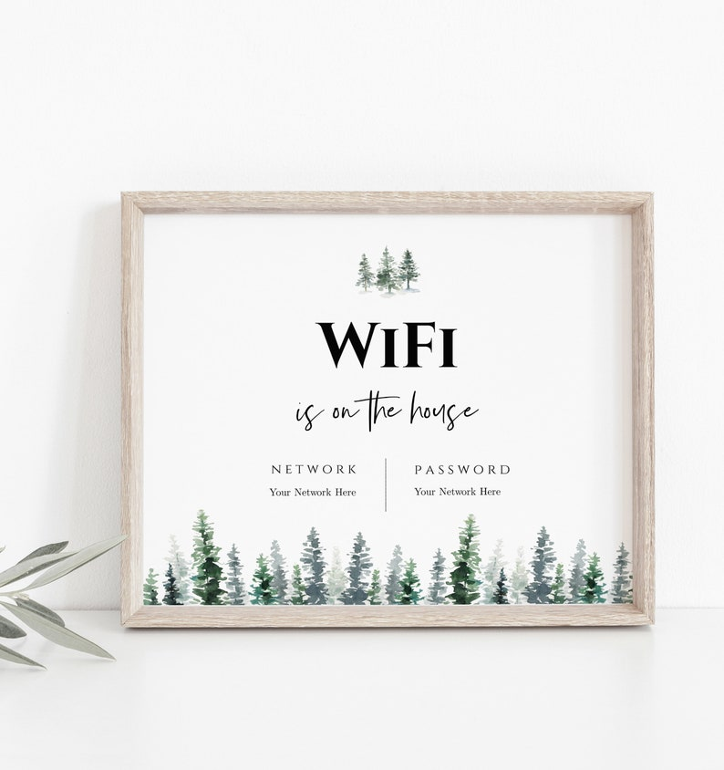 Printable Guest Room Sign Editable Internet Sign Editable Templett Instant Download WIFI Password Sign Template