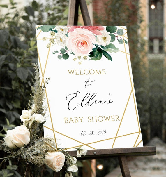 Baby Shower Welcome Sign Welcome Baby Shower Board Welcome to Baby Shower Sign Printable DIY Fully Editable Template Blush Boho Coral Floral