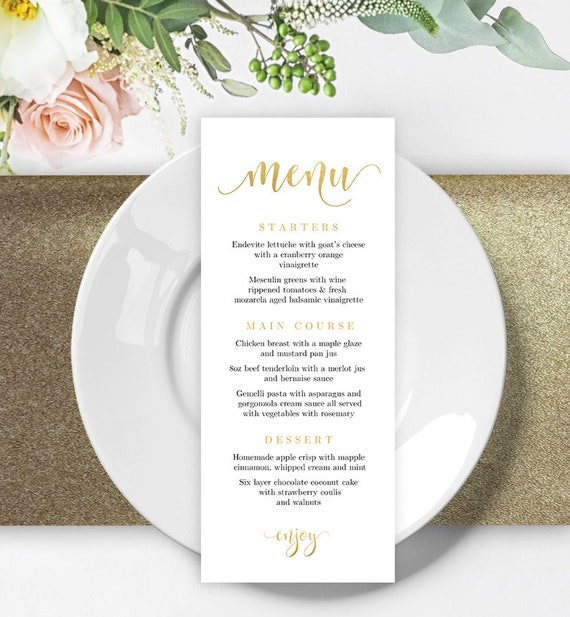 Printable Wedding Menu Template Printable Gold Wedding Menu Cards Editable  Menu Card Template Party Menu Instant Download Menu Printable