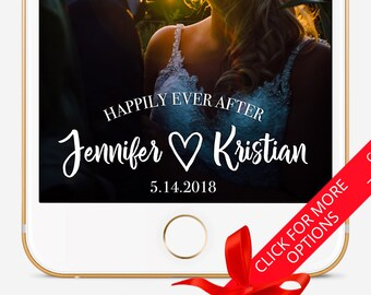 Wedding Snapchat Filter, Custom Snapchat Filter, Snapchat Geofilter Wedding, Snapchat Filter, Personalized Filter, Happily Ever After