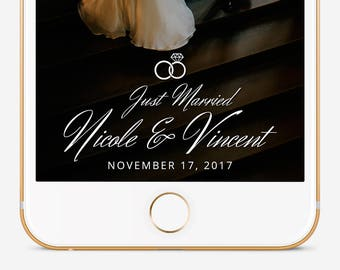 Wedding Snapchat Filter, Custom Snapchat Filter, Snapchat Geofilter Wedding, Snapchat Filter, Personalized Filter, Just Married Filter
