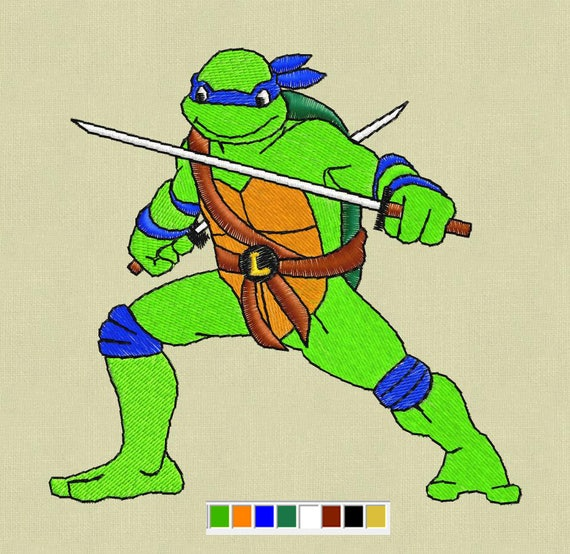 Leonardo Embroidery Design Teenage Mutant Ninja Turtles Etsy
