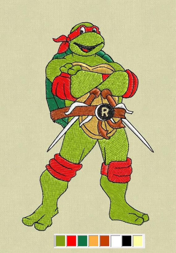 Raphael Embroidery Design Teenage Mutant Ninja Turtles Etsy