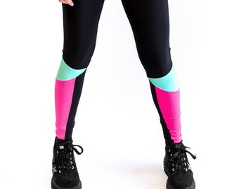 colourblock legging - black/mint/pink