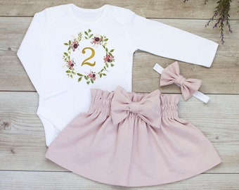 2nd Birthday Outfit Girl Second Flower Birthday2nd Bodysuit Dusty Pink