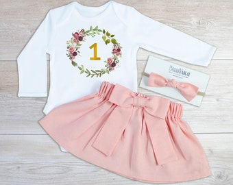 f82bedf84bcc88 Boho first birthday outfit girl - Personalized 1st birthday outfit girl -  Linen skirt - Floral wreath long sleeve onesie - Girls headband