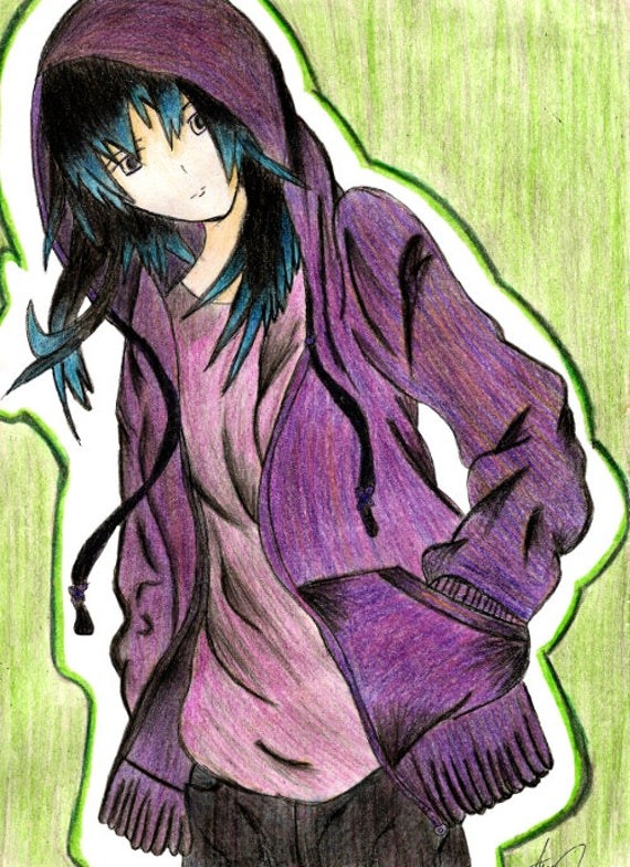 Anime Cartoon Colored Pencil Drawing Anime Poster Anime Etsy