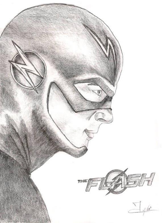 Le flash super h ros le dessin de flash laffiche flash le etsy - Flash le super heros ...