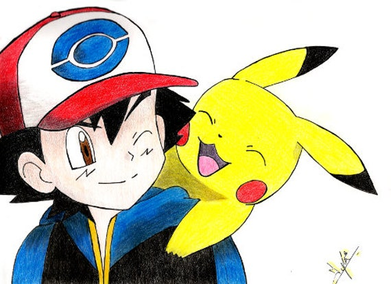 Ash And Pikachu Pokemon Pokemon Art Pikachu Art Print Etsy