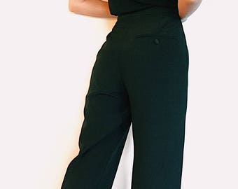 Polish high waisted dress pant | US 6 | Straight leg | Lined | Slim fit through hips and thighs | Black side strip | One back pocket | Wool