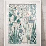 Sanctuary - Greenhouse Gardening Giclée Print