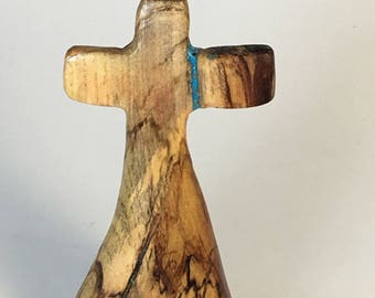 Hand carved wood cross