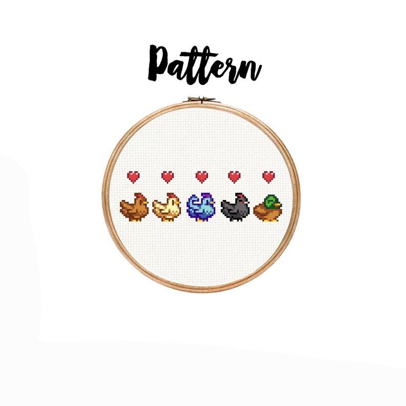 Cross Stitch Pattern Stardew Valley Chickens and Duck