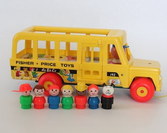 Fisher Price Little People, #192 School Bus, 1976-1980 Made in U.S.A.
