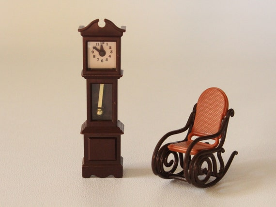 Fabulous Fisher Price Furniture Clock And Rocking Chair 250 And 280 Doll House 1978 1984 Made In U S A Andrewgaddart Wooden Chair Designs For Living Room Andrewgaddartcom