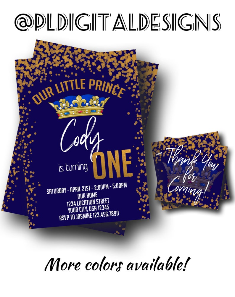 Our Little Prince 1st Birthday Invitation Our Little Prince Etsy