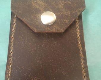 Dark Brown Slate Coyote Shell Shock USA Leather Vertical Pocket Slim Wallet w/ Snap Closure