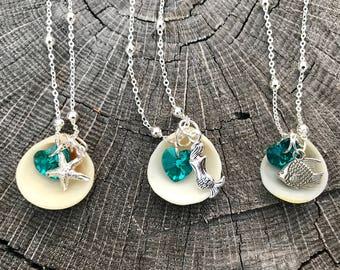 REAL Seashell Necklace w/ Swarovski heart & Beach Charm