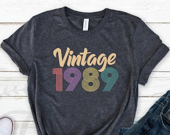 30Th Birthday Shirt Vintage 1989 T Personalized Gifts For Women Mother Sister Friend Parent Wife Husband Party Group