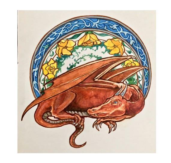 The Bower Dragon Color Block Cross Stitchdiamond Painting Etsy