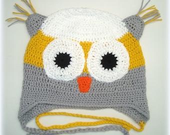 Boys cotton owl hat. Crochet in cotton yarn . Happy Owl. Happy Ulula UK