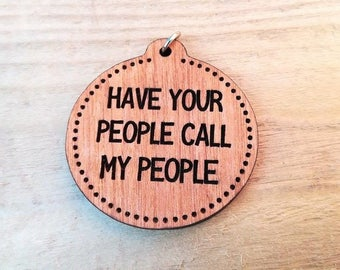 Round Wooden Dog Tag, Personalised Dog ID Tag