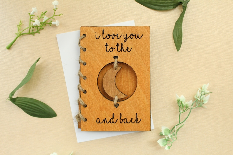 Wooden Mothers Day Gift / Card I Love You To The Moon and image 0