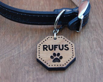 Wooden Dog Tag, Personalised Dog ID Tag
