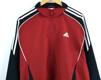 Adidas Jacket Vintage Men L Adidas windbreaker vintage Red Adidas Vintage Windbreaker Vintage jacket Adidas Bomber 3 stripe Adidas men large