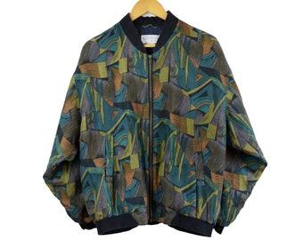 cb3e9c72f Silk Jacket Men M Autumn Mounting New York Vintage Bomber Light 90s 80s  clothes Retro Blazer Abstract Geometry prints