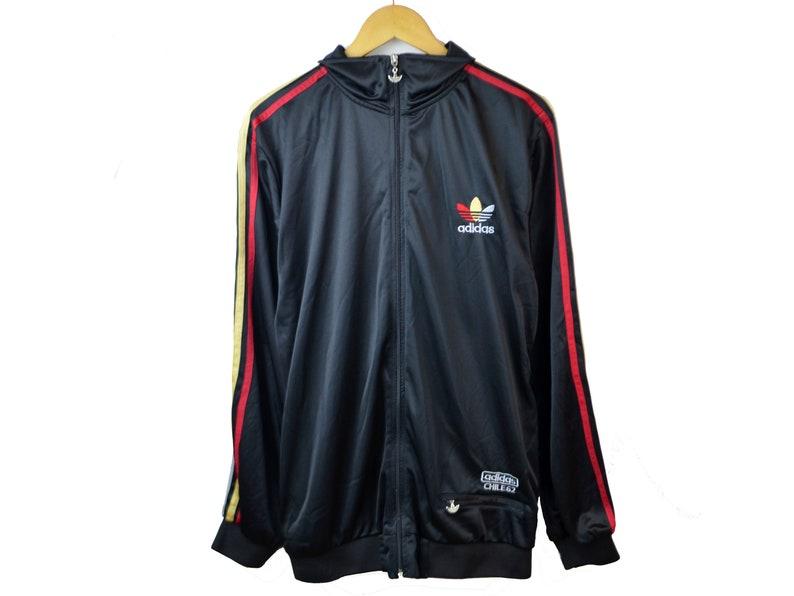 Vintage Adidas Jacket Chile 62 Accurate Jacket Men XL XXL Slim Fit 90s Adidas Tracksuit top Big Logo 3 stripes brand Adidas original trefoil
