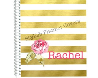 Personalized Planner Cover, Gold Stripe Foil Style Planner Cover,v To use with Erin Condren(TM), Happy Planner Cover, For Happy Planners