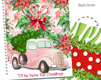 Christmas Planner Cover, Christmas Tree Pink Truck Cover, Pick Up Truck, Holiday Happy Planner Cover, For use with Erin Condren Planner(TM)