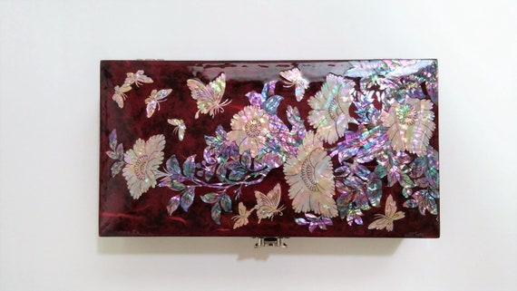 Keepsake box Jewelry case Mother of Pearl Jewelry box Wooden box Jewelry storage Peonies and Butterflies patterned