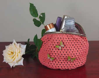 Crochet makeup bag, cosmetic purse, fashion bag, handmade bag, art bag, toiletry storage
