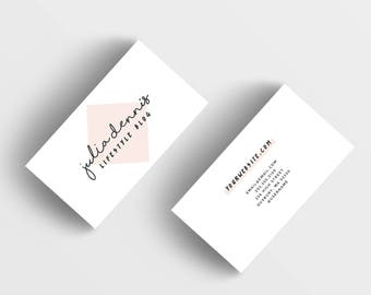 Rose quartz business card design calling card pantone card etsy pink business card design customized ready to print calling card modern business branding simple business card photography business card colourmoves