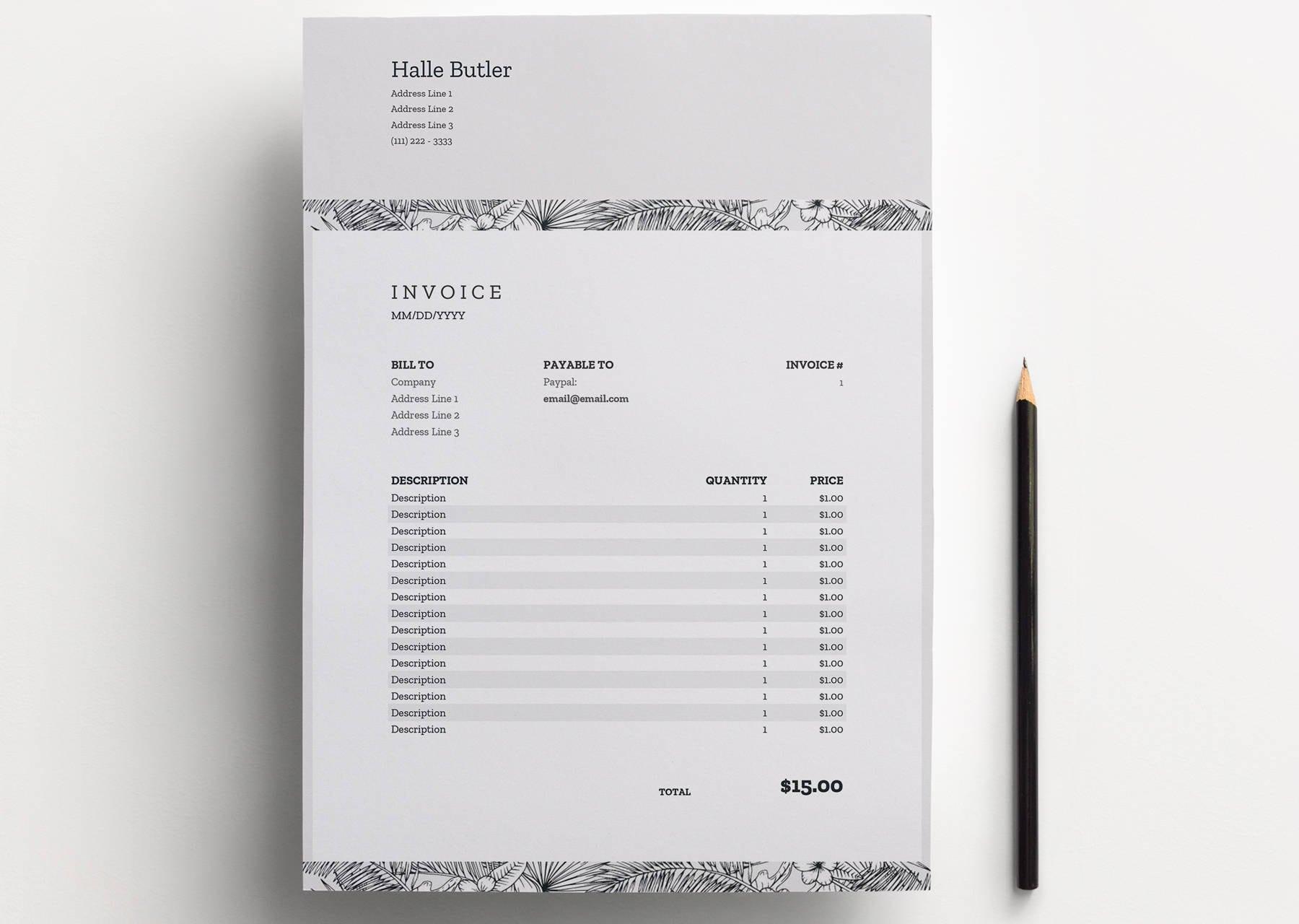 Factura Excel Google hojas plantilla de recibo
