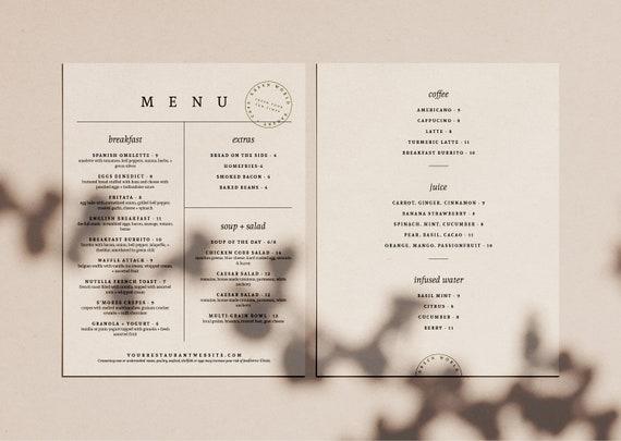 Restaurant Menu Design Minimal Cafe Menu Design Trendy Food Menu Cafe Branding Black And White Menu Sheet Menu For Cafe Coffee Menu