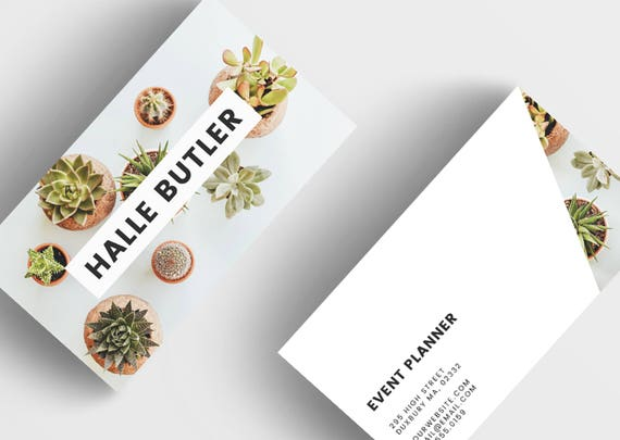 Succulent business cards floral business card template for etsy image 0 friedricerecipe Images