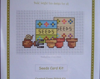 Seaside Birthday Fat Cat Cross stitch card kit