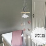Stars and Moon Cot Mobile, pink nursery mobile, Stars Baby mobile, Moon cot mobile, stars and moon nursery decor
