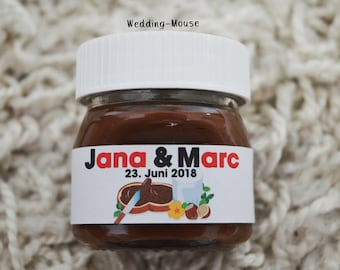 6462d2bc8e049a 25x Nutella labels for 25g guest gift names wedding favs wedding favours  giveaway gift sticker adhesive personalised